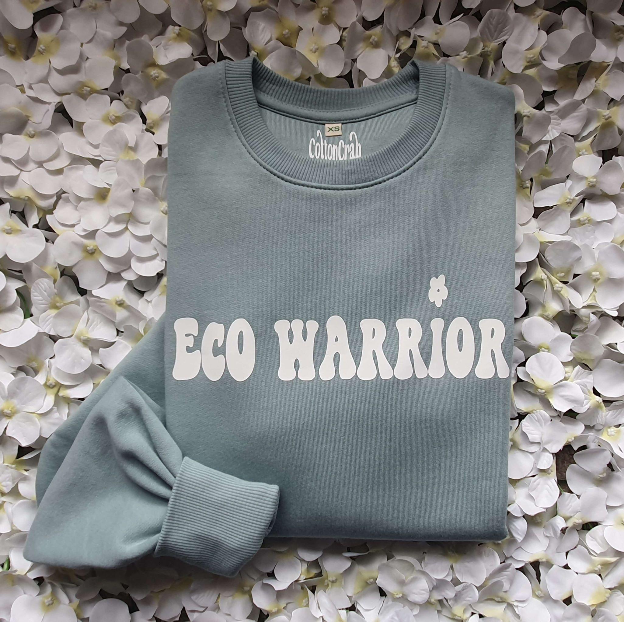 Organic Cotton Slate Green Eco Warrior Sweatshirt Top Kind Shop