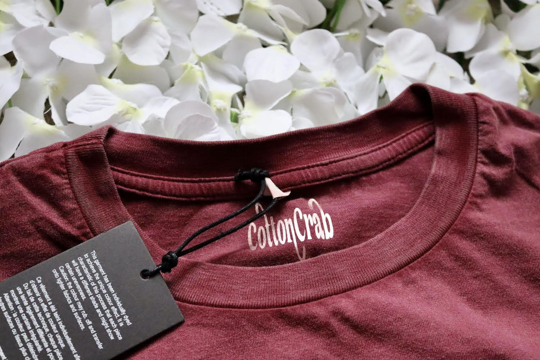 Organic Cotton Cropped Stonewash Burgundy T-Shirt with CottonCrab Rainbow Logo Kind Shop 5
