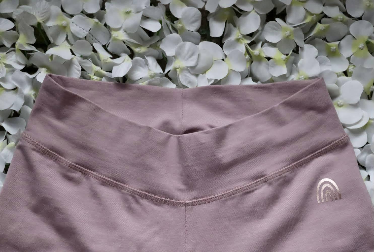 Organic Cotton Stretch Purple Rose Leggings With CottonCrab Rainbow Logo Kind Shop 3