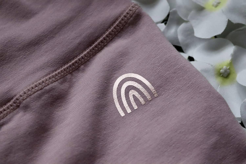 Organic Cotton Stretch Purple Rose Leggings With CottonCrab Rainbow Logo Kind Shop 2