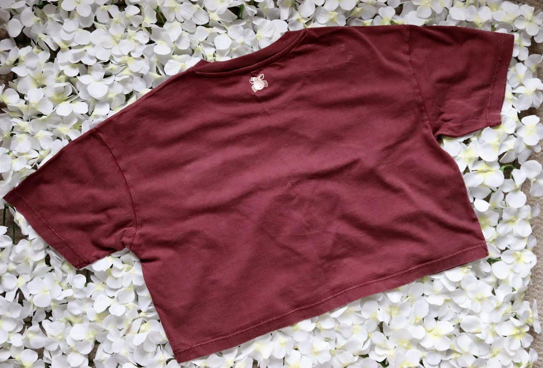 Organic Cotton Cropped Stonewash Burgundy T-Shirt with CottonCrab Rainbow Logo Kind Shop 6