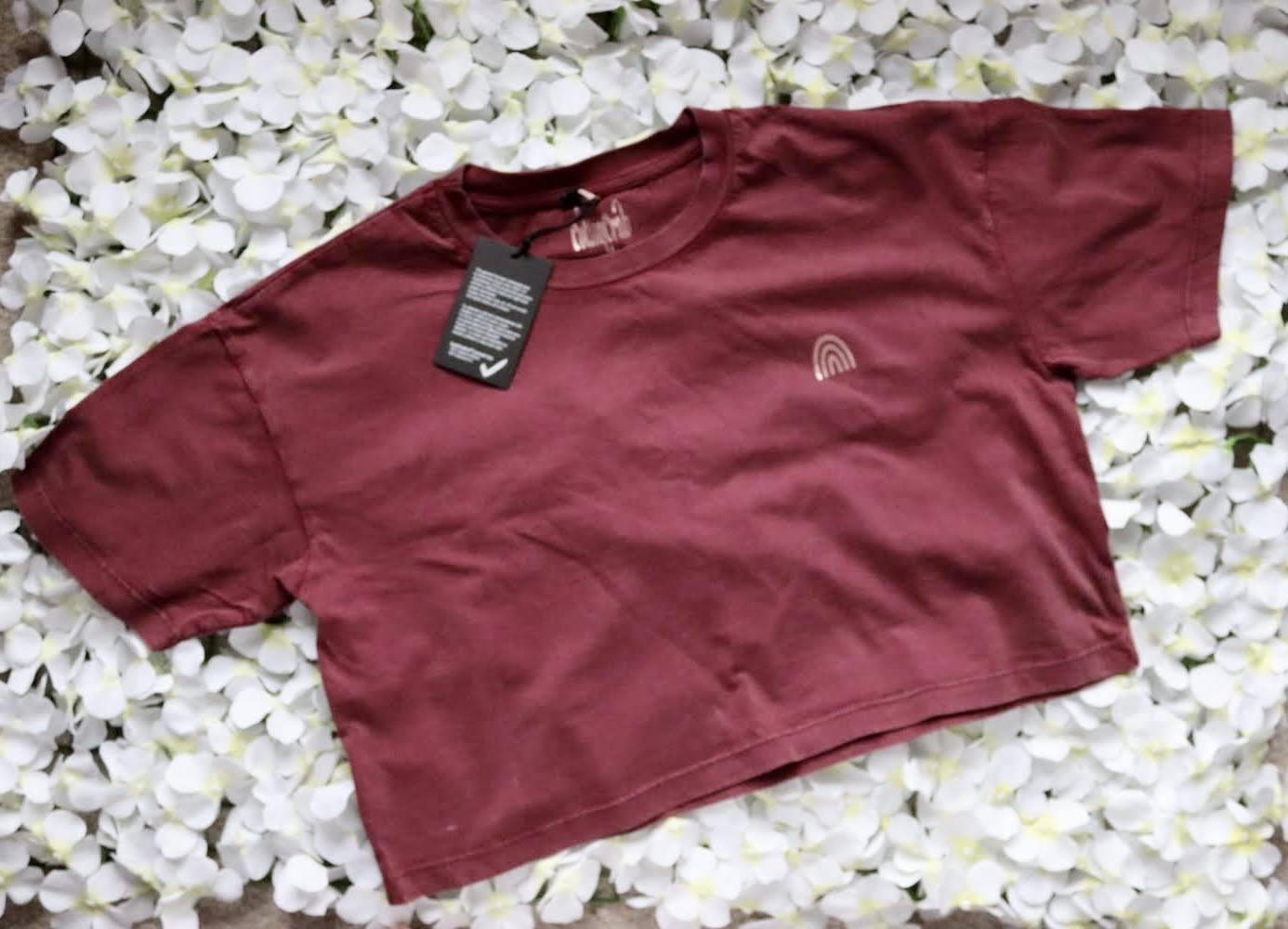 Organic Cotton Cropped Stonewash Burgundy T-Shirt with CottonCrab Rainbow Logo Kind Shop 2