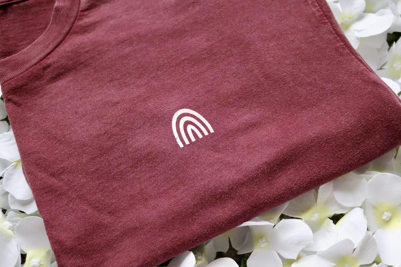 Organic Cotton Cropped Stonewash Burgundy T-Shirt with CottonCrab Rainbow Logo Kind Shop 4
