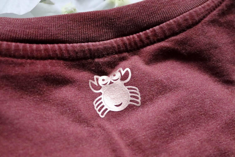 Organic Cotton Cropped Stonewash Burgundy T-Shirt with CottonCrab Rainbow Logo Kind Shop 3