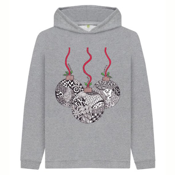 Christmas Baubles Children's Sustainable Christmas Hoodie – Organic Cotton Kind Shop 3