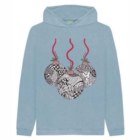 Christmas Baubles Children's Sustainable Christmas Hoodie – Organic Cotton Kind Shop 4