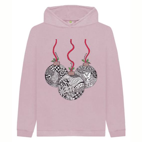 Christmas Baubles Children's Sustainable Christmas Hoodie – Organic Cotton Kind Shop