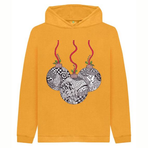 Christmas Baubles Children's Sustainable Christmas Hoodie – Organic Cotton Kind Shop 5