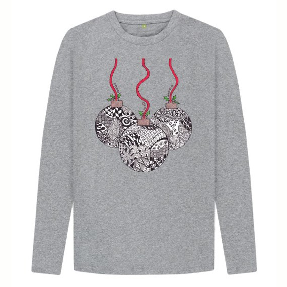 Christmas Baubles Children's Sustainable Christmas Long Sleeve T Shirt – Organic Cotton Kind Shop 3
