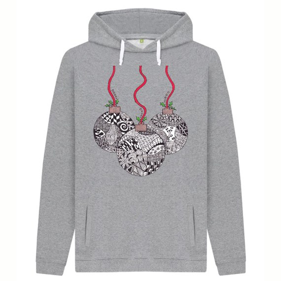 Christmas Baubles Men's Sustainable Christmas Jumper Hoodie – Organic Cotton Kind Shop 4