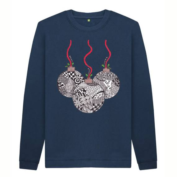 Christmas Baubles Men's Sustainable Christmas Jumper – Organic Cotton Kind Shop 3