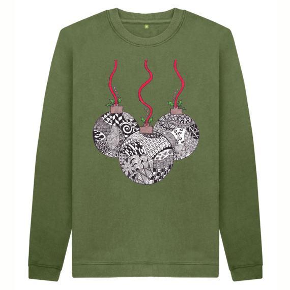 Christmas Baubles Men's Sustainable Christmas Jumper – Organic Cotton Kind Shop