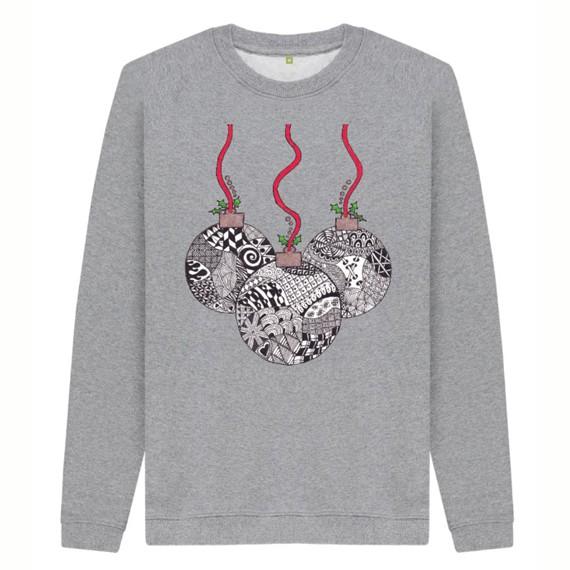 Christmas Baubles Men's Sustainable Christmas Jumper – Organic Cotton Kind Shop 5