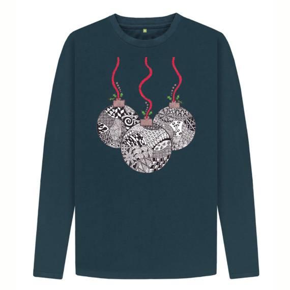 Christmas Baubles Men's Sustainable Christmas Long Sleeve T Shirt – Organic Cotton Kind Shop 3
