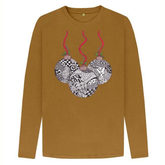 Christmas Baubles Men's Sustainable Christmas Long Sleeve T Shirt – Organic Cotton Kind Shop 4