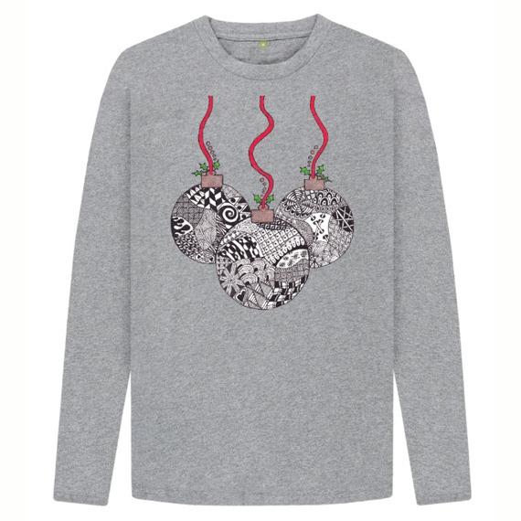 Christmas Baubles Men's Sustainable Christmas Long Sleeve T Shirt – Organic Cotton Kind Shop