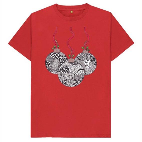 Christmas Baubles Men's Sustainable Christmas T Shirt – Organic Cotton Kind Shop 8