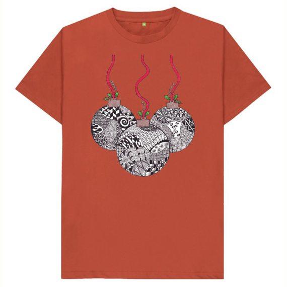 Christmas Baubles Men's Sustainable Christmas T Shirt – Organic Cotton Kind Shop 9