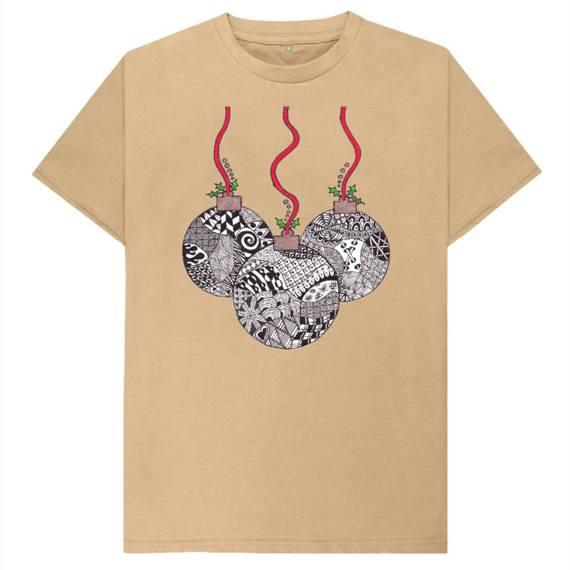 Christmas Baubles Men's Sustainable Christmas T Shirt – Organic Cotton Kind Shop