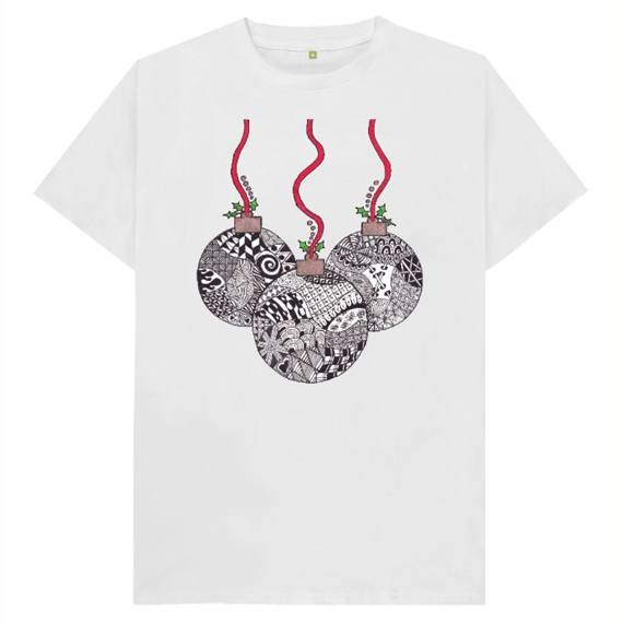 Christmas Baubles Men's Sustainable Christmas T Shirt – Organic Cotton Kind Shop 10