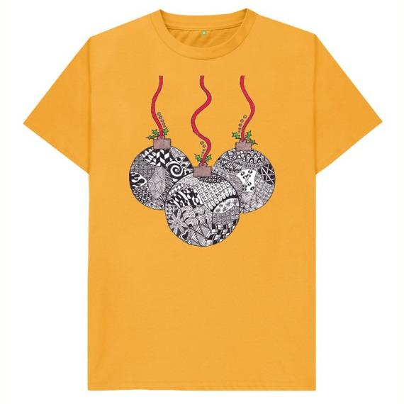 Christmas Baubles Men's Sustainable Christmas T Shirt – Organic Cotton Kind Shop 11