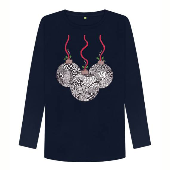 Christmas Baubles Women's Sustainable Christmas Long Sleeve T Shirt – Organic Cotton Kind Shop 3
