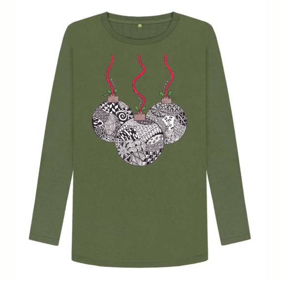 Christmas Baubles Women's Sustainable Christmas Long Sleeve T Shirt – Organic Cotton Kind Shop 4