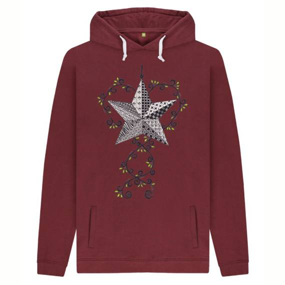 Christmas Star Men's Sustainable Christmas Jumper Hoodie – Organic Cotton Kind Shop