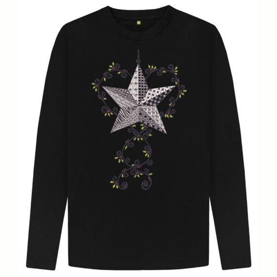 Christmas Star Men's Sustainable Christmas Long Sleeve T Shirt – Organic Cotton Kind Shop 2