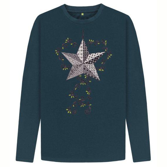 Christmas Star Men's Sustainable Christmas Long Sleeve T Shirt – Organic Cotton Kind Shop 3