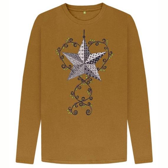 Christmas Star Men's Sustainable Christmas Long Sleeve T Shirt – Organic Cotton Kind Shop 4