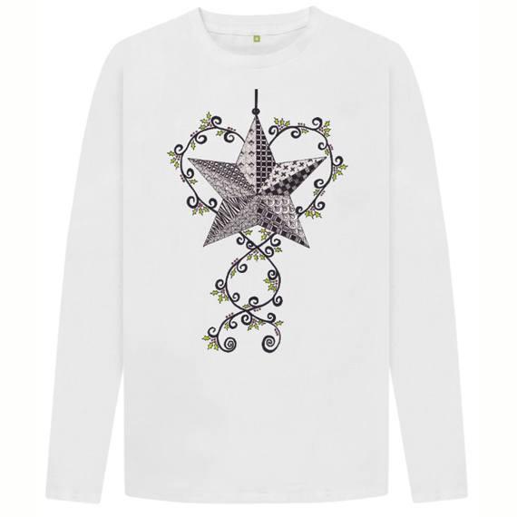 Christmas Star Men's Sustainable Christmas Long Sleeve T Shirt – Organic Cotton Kind Shop 5