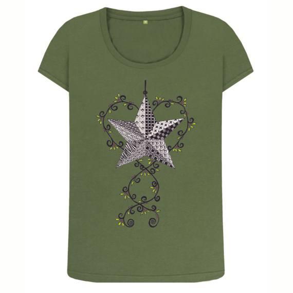 Christmas Star Women's Sustainable Christmas T Shirt – Organic Cotton Kind Shop 4