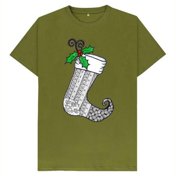 Christmas Stocking 1 Men's Sustainable Christmas T Shirt – Organic Cotton Kind Shop 4