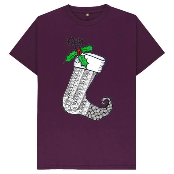 Christmas Stocking 1 Men's Sustainable Christmas T Shirt – Organic Cotton Kind Shop 7