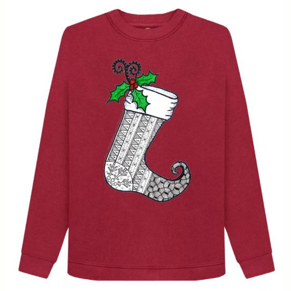 Christmas Stocking 1 Women's Sustainable Christmas Jumper – Organic Cotton Kind Shop 3