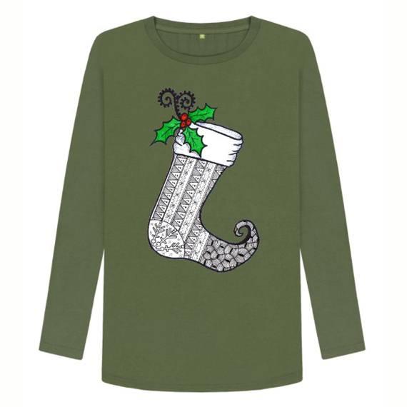 Christmas Stocking 1 Women's Sustainable Christmas Long Sleeve T Shirt – Organic Cotton Kind Shop 4
