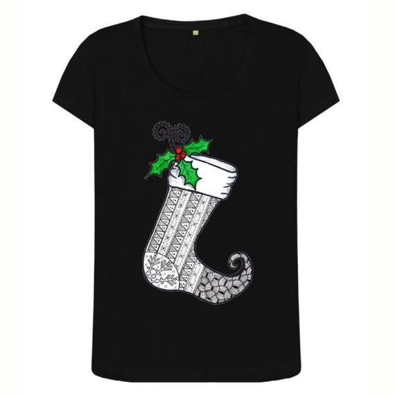 Christmas Stocking 1 Women's Sustainable Christmas T Shirt – Organic Cotton Kind Shop 2