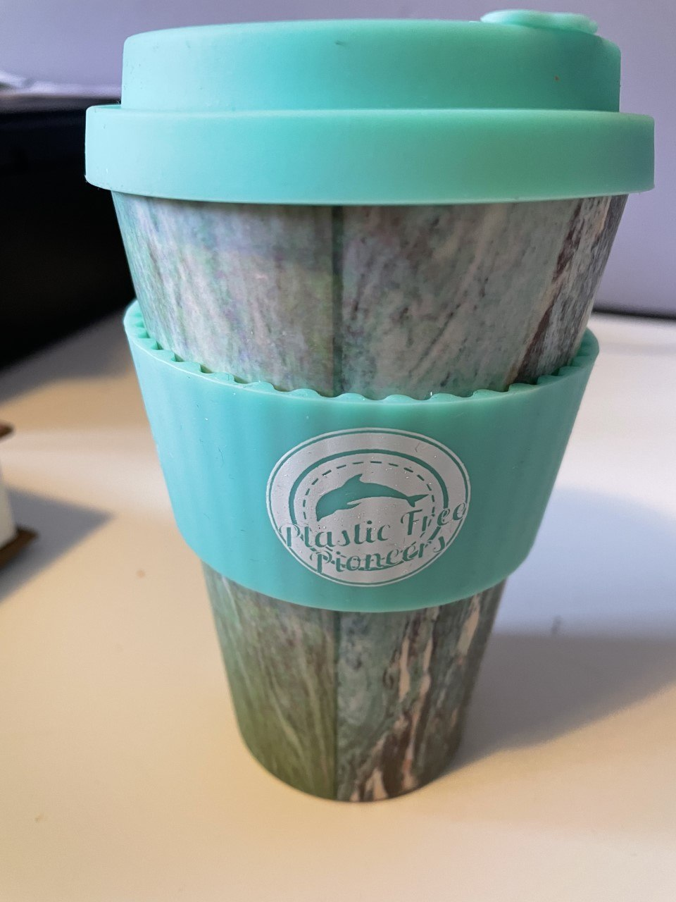 Reusable Bamboo Coffee Cup – Blue Patterned Large 14oz Kind Shop