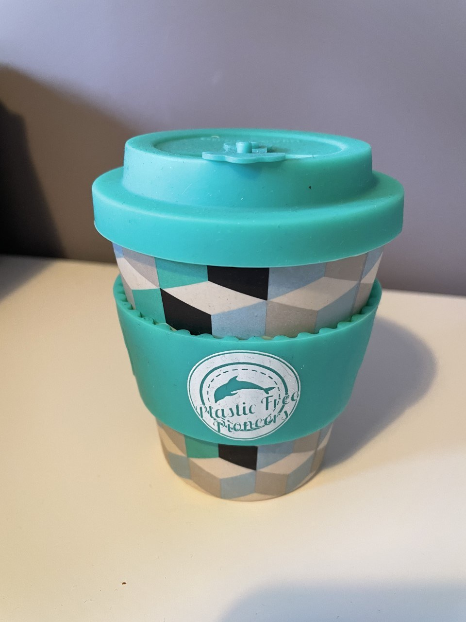 Reusable Bamboo Coffee Cup – Blue Patterned Small 8oz Kind Shop