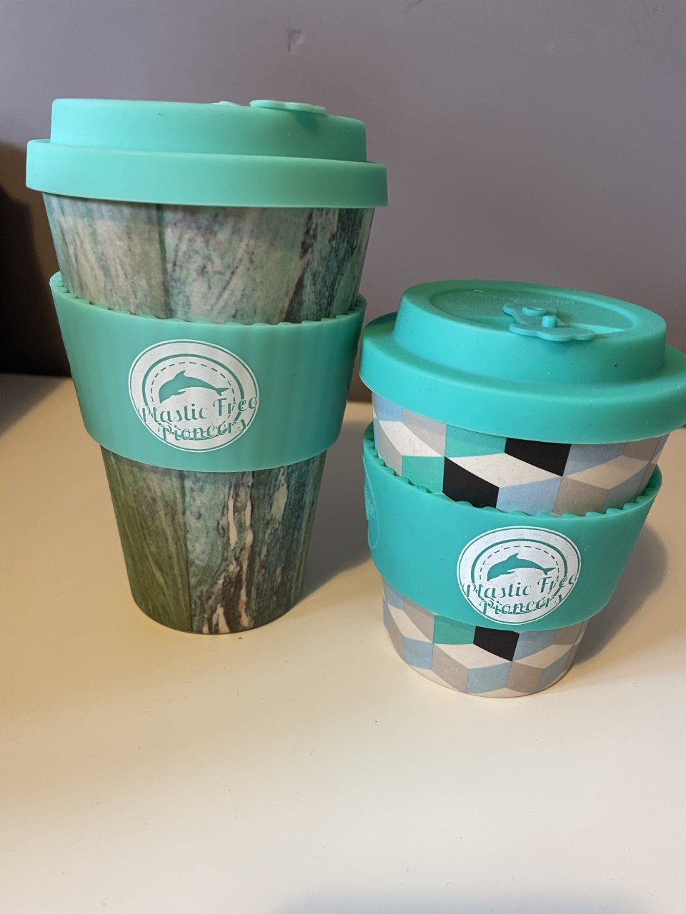 Reusable Bamboo Coffee Cup – Blue Patterned Large 14oz Kind Shop 3