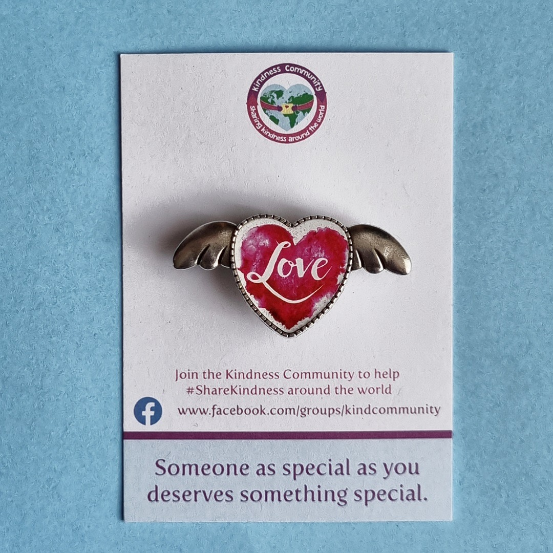 Love heart angel wings lapel pin badge. Fundraising for Kindness Community. Kind Shop