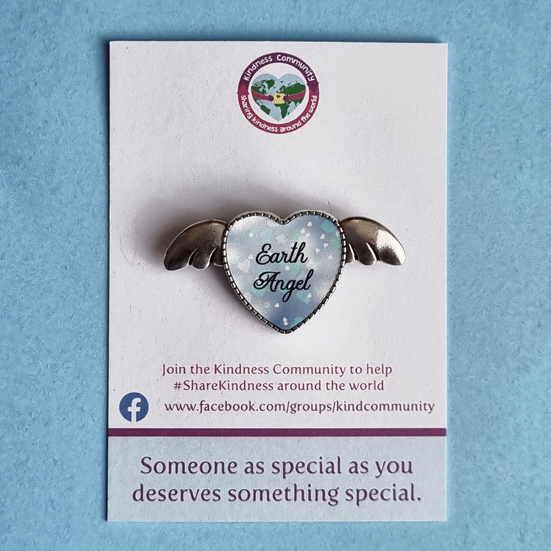 Earth angel heart wings lapel pin badge. Fundraising for Kindness Community. Kind Shop