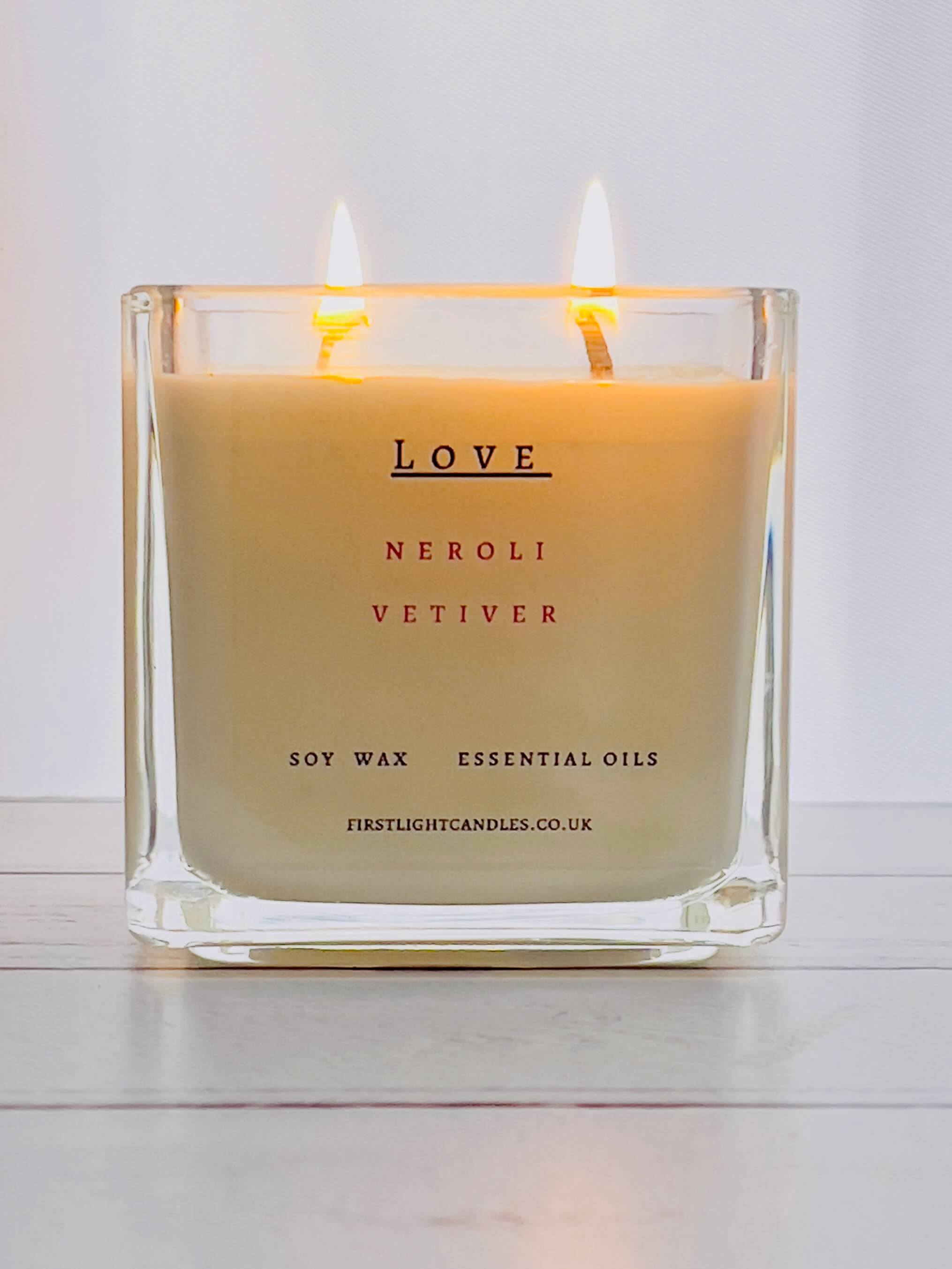 Vegan Soy Candle with Neroli and Vetiver. Double Wick Kind Shop