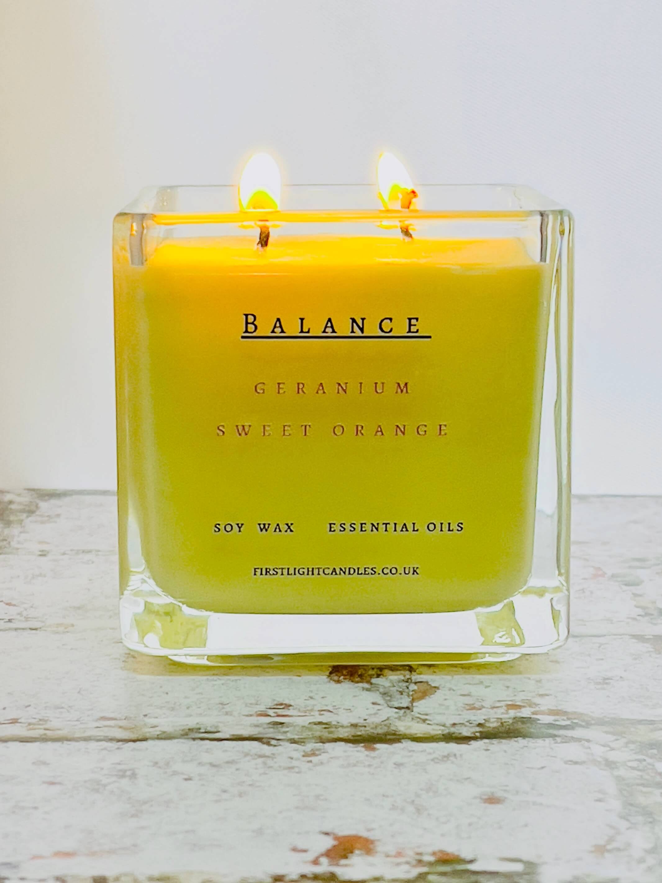 Vegan Soy Candle with Geranium & Sweet Orange Essential Oils. Double Wick Kind Shop
