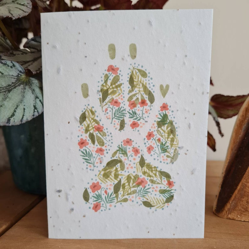 Plantable Wildflower Seed Card With Floral Dog Paw Print