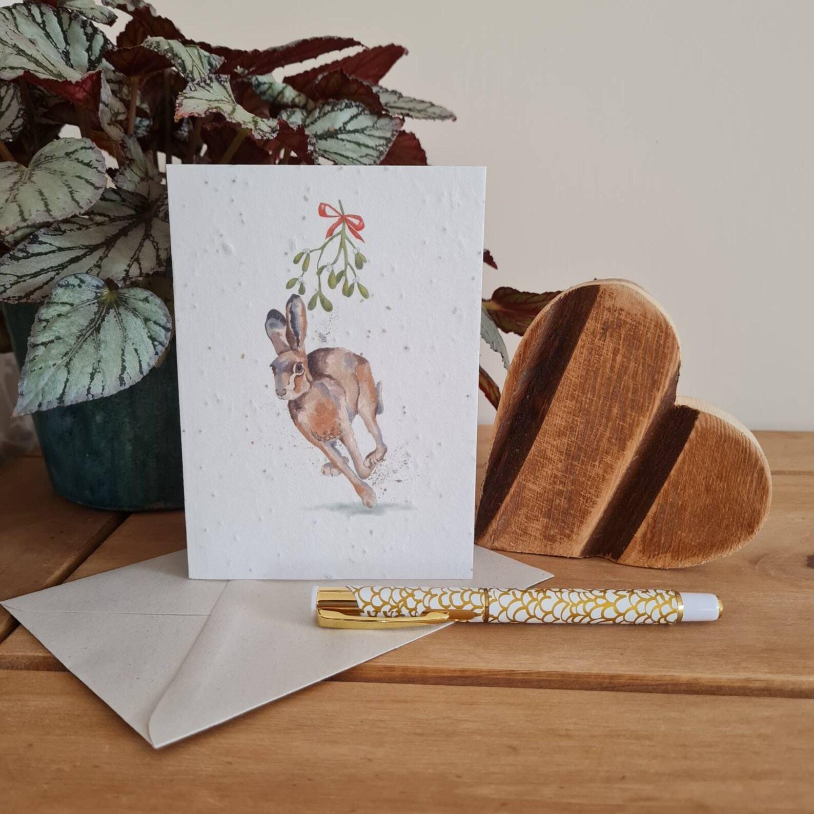 Plantable Wildflower Seed Christmas Card With Hare & Mistletoe