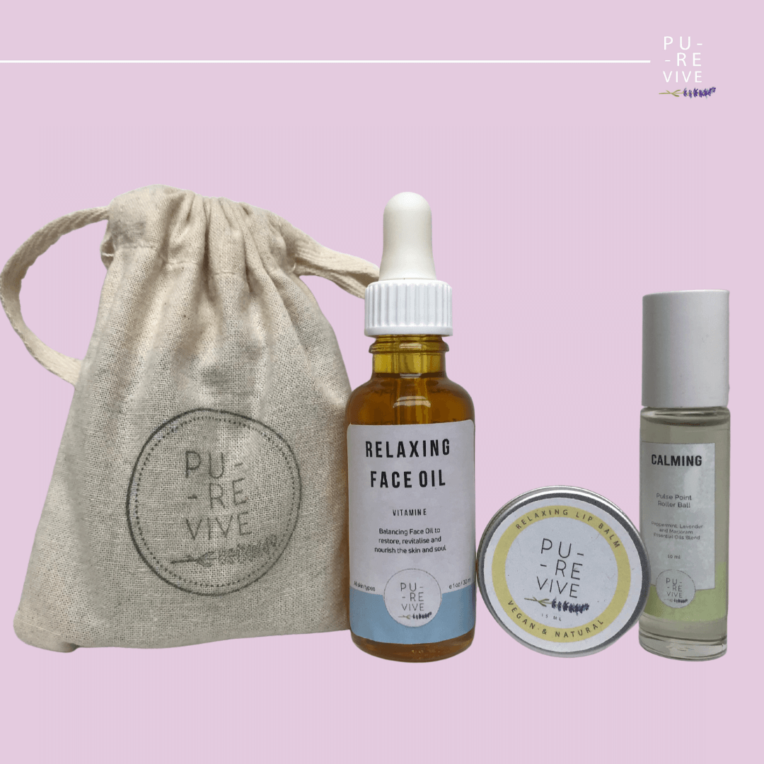 Relax Pack – Relaxing Face Serum, Pulse Point Oil and Vegan Lip Balm Kind Shop