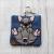 French Bulldog Eco Plastic Free Dog Poo Bag Holder – Blue/grey
